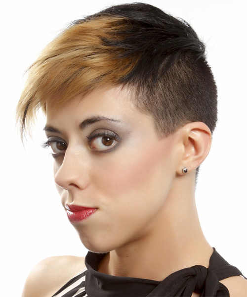 Short Straight Alternative Undercut  Hairstyle with Side Swept Bangs  - Dark Brunette - Side View