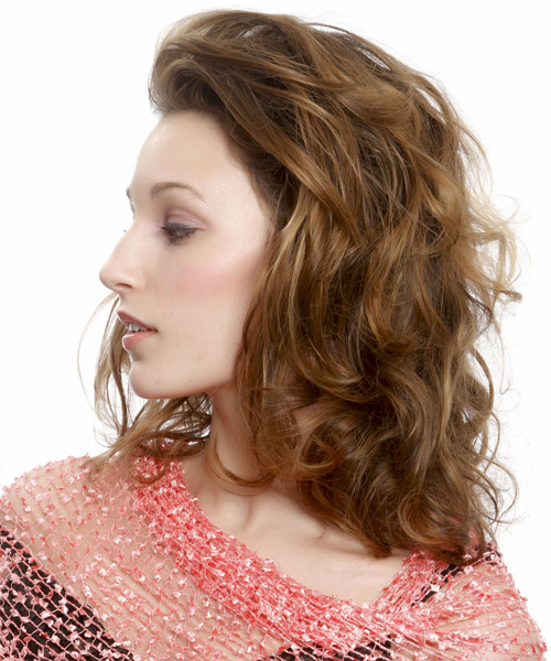 Medium Wavy   Light Caramel Brunette   Hairstyle   - Side View