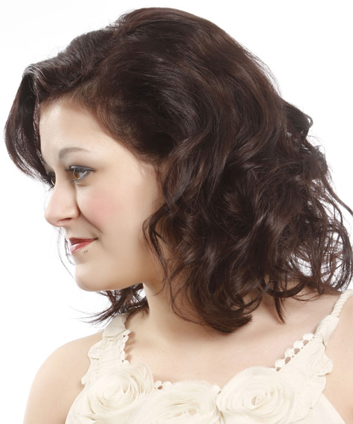Medium Wavy Casual    Hairstyle   - Dark Auburn Brunette Hair Color - Side View
