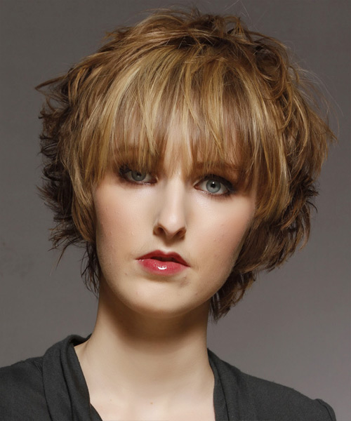 Short Straight   Light Golden Brunette   Hairstyle with Blunt Cut Bangs  and Light Blonde Highlights - Side View
