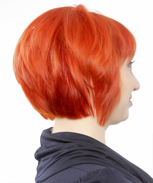 Short Straight   Orange  Bob  Haircut with Blunt Cut Bangs  - Side View