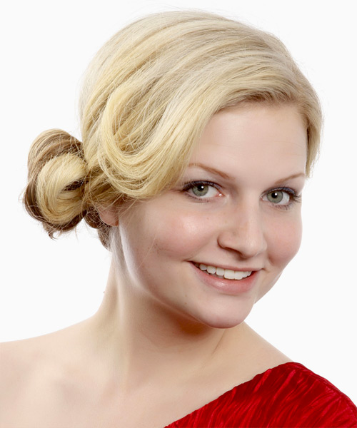Long Straight   Light Blonde and  Brunette Two-Tone  Updo    with Light Blonde Highlights - Side View