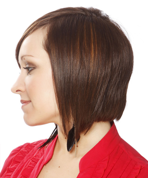 Medium Straight Layered   Chestnut Brunette Bob  Haircut   - Side View