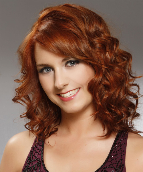 Medium Curly Formal Hairstyle With Side Swept Bangs Red Copper