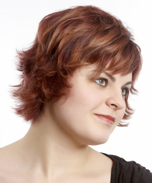 Short Straight Casual    Hairstyle with Razor Cut Bangs  - Burgundy Hair Color - Side View