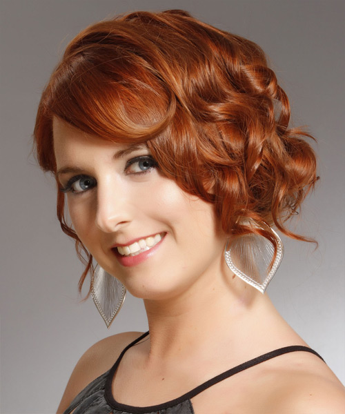 Medium Curly Formal   Updo Hairstyle with Side Swept Bangs  -  Copper Red Hair Color - Side View