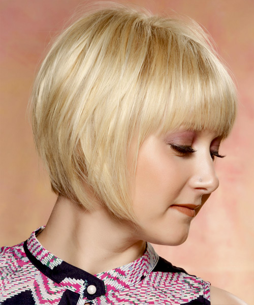 Short Straight   Light Golden Blonde Bob  Haircut with Layered Bangs  and Light Blonde Highlights - Side View