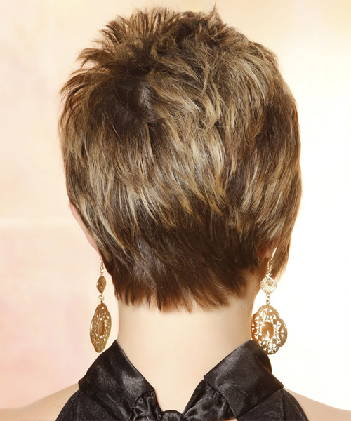 Short Straight Casual    Hairstyle with Side Swept Bangs  - Medium Caramel Brunette Hair Color with Medium Blonde Highlights - Side View