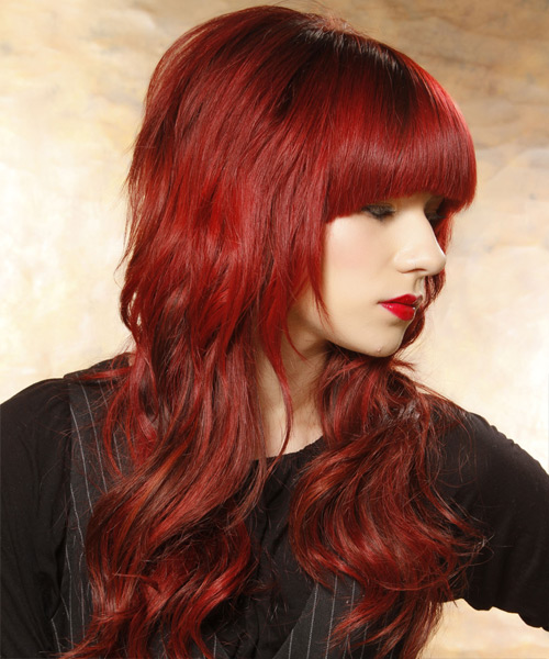 Long Wavy Casual   Hairstyle with Blunt Cut Bangs  - Medium Red (Bright) - Side View