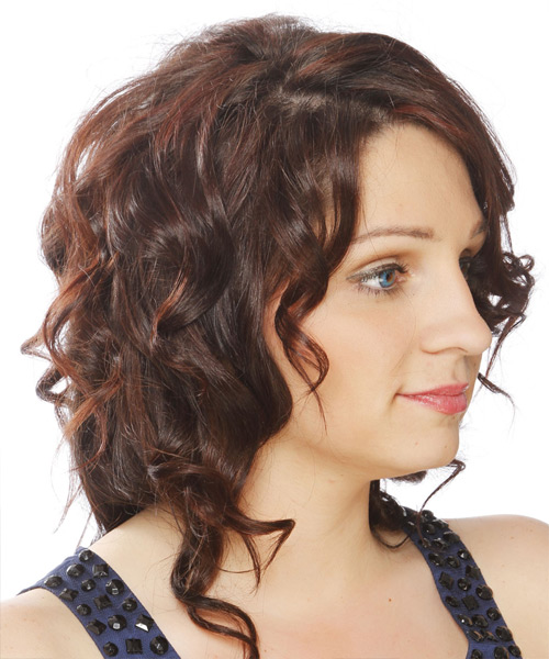 Medium Curly   Dark Chocolate Brunette   Hairstyle   - Side View