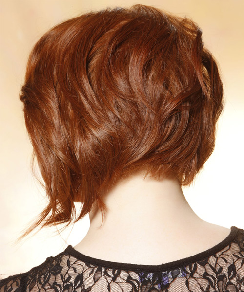 Medium Straight Layered   Copper Red Bob  Haircut with Side Swept Bangs  and Light Blonde Highlights - Side View