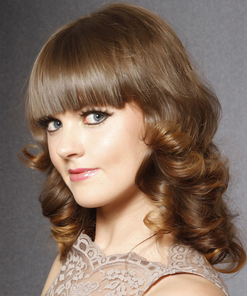 Medium Curly    Caramel Brunette   Hairstyle with Blunt Cut Bangs  - Side View