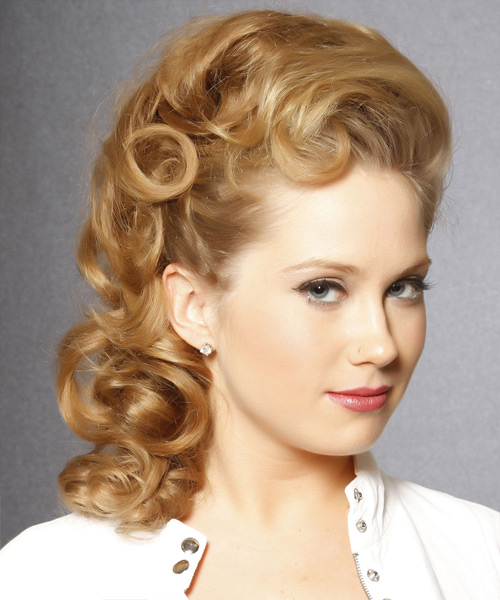 Long Curly Honey Blonde Updo With Light Blonde Highlights