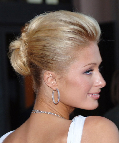Paris Hilton  Medium Straight   Light Strawberry Blonde  Updo    - Side View