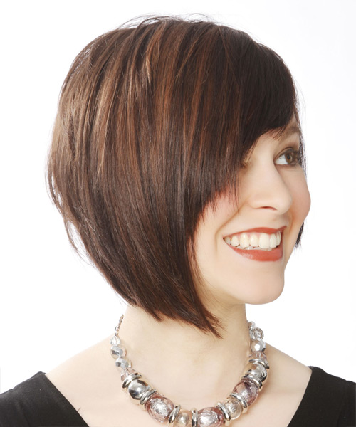 Short Straight Casual Layered Bob  Hairstyle with Side Swept Bangs  -  Brunette Hair Color - Side View