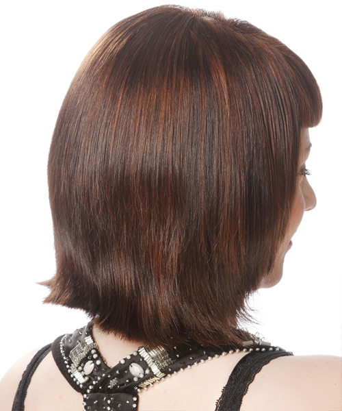 Short Straight Formal Layered Bob  Hairstyle with Blunt Cut Bangs  -  Brunette Hair Color - Side View
