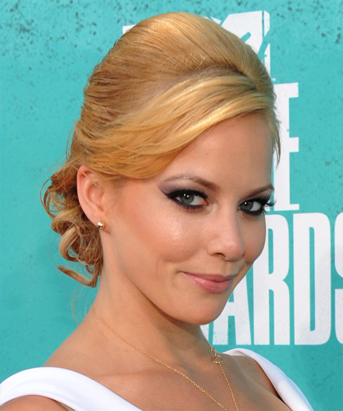 Amy Paffrath  Long Curly Formal   Updo Hairstyle with Side Swept Bangs  -  Golden Blonde Hair Color - Side View