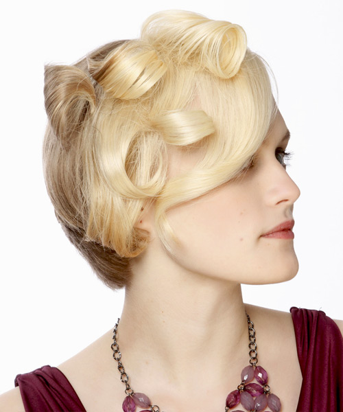 Short Curly Formal    Hairstyle   - Light Blonde and Dark Blonde Two-Tone Hair Color - Side View