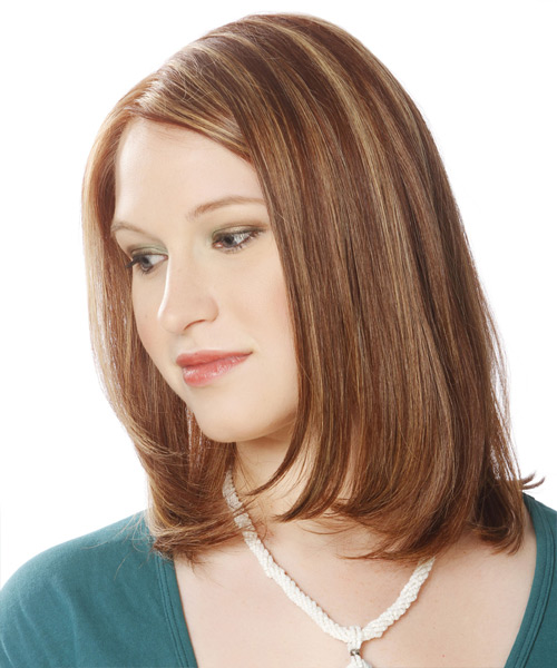 Medium Straight Formal Layered Bob  Hairstyle   -  Brunette Hair Color with Light Blonde Highlights - Side View