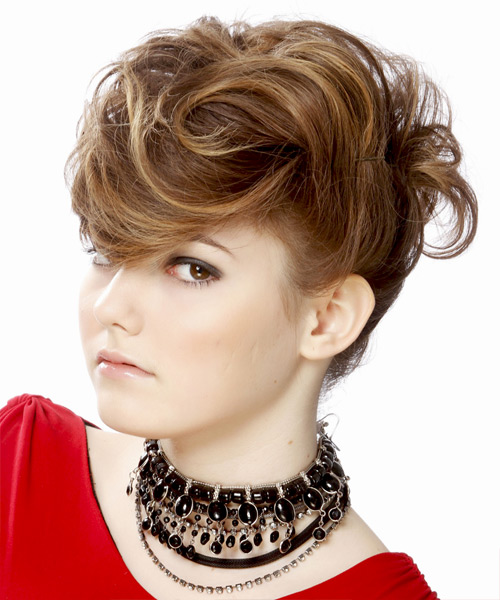 Updo Medium Straight Formal  Updo Hairstyle   - Medium Brunette - Side View