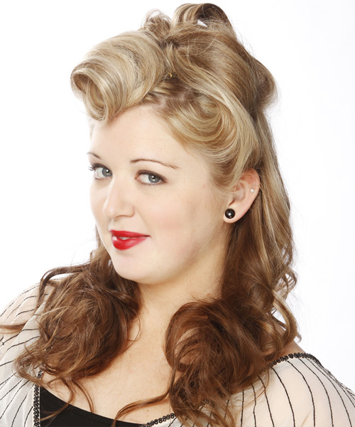 Long Curly Formal   Half Up Hairstyle   -  Champagne Blonde and  Brunette Two-Tone Hair Color with Light Blonde Highlights - Side View