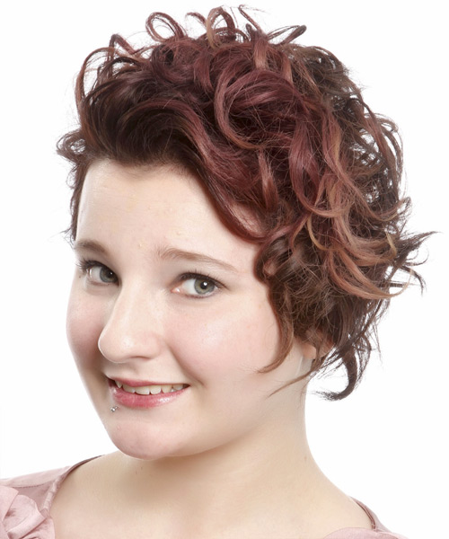 Short Wavy Casual    Hairstyle   -  Mahogany Brunette Hair Color - Side View