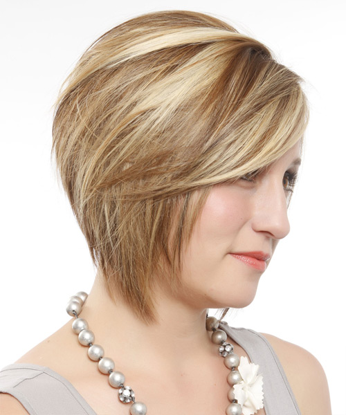 Short Straight Formal Layered Bob  Hairstyle with Side Swept Bangs  - Dark Blonde Hair Color with Light Blonde Highlights - Side View