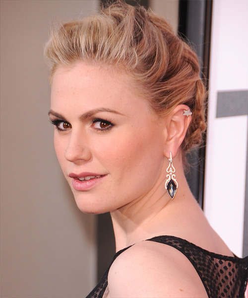 Anna Paquin Updo Long Straight Casual Braided Updo Hairstyle   - Medium Blonde (Golden) - Side View
