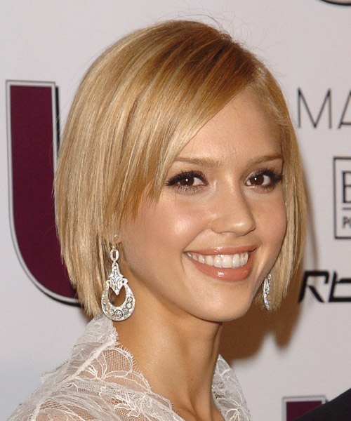 Jessica Alba Medium Straight Formal Bob  Hairstyle with Side Swept Bangs  - Light Blonde - Side View