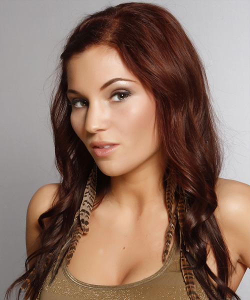 Long Wavy Casual  Emo  Hairstyle   - Medium Auburn Brunette Hair Color - Side View