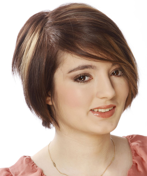 Short Straight Layered  Light Brunette Bob  Haircut with Side Swept Bangs  and Dark Brunette Highlights - Side View