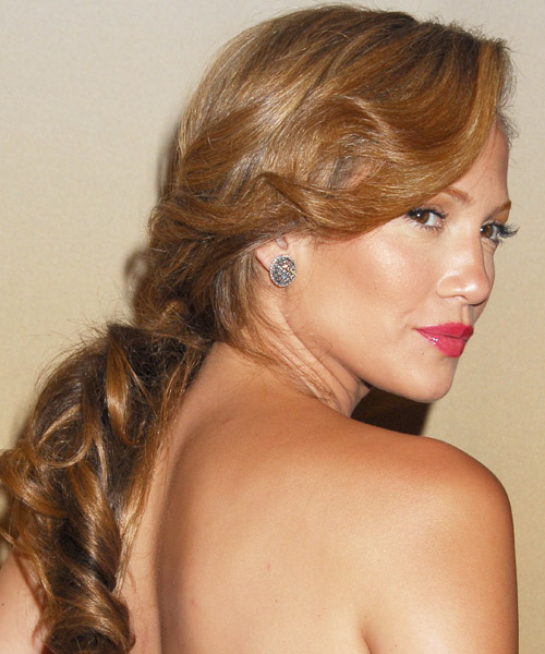 Jennifer Lopez  Long Curly Formal   Updo Hairstyle   -  Golden Brunette Hair Color - Side View