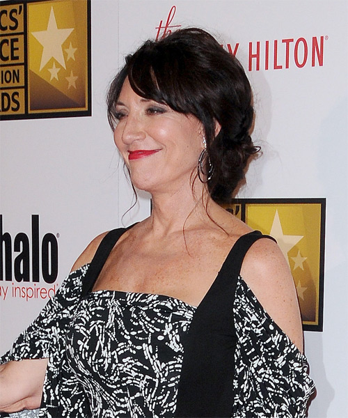 Katey Sagal Updo Long Curly Casual  Updo Hairstyle with Side Swept Bangs  - Black - Side View