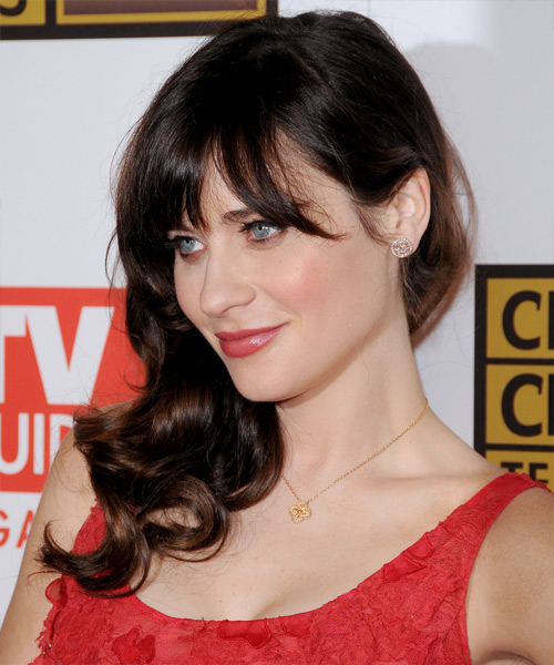 Zooey Deschanel Long Straight Formal   Hairstyle with Blunt Cut Bangs  - Dark Brunette - Side View