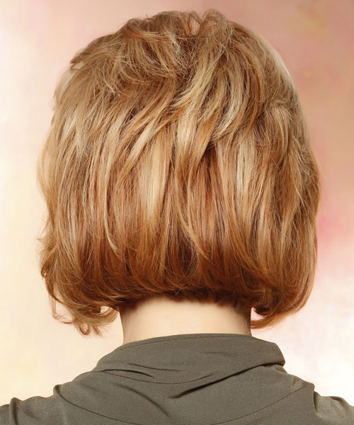 Short Straight Formal Layered Bob  Hairstyle with Side Swept Bangs  - Light Strawberry Red Hair Color with Light Blonde Highlights - Side View