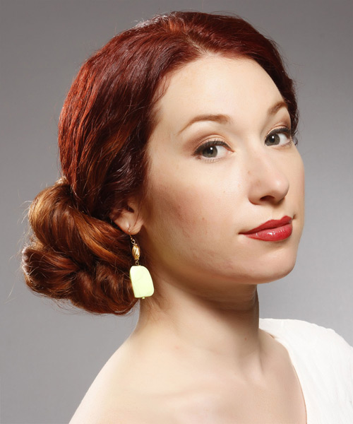 Updo Long Curly Formal Wedding Updo Hairstyle   - Dark Red (Bright) - Side View
