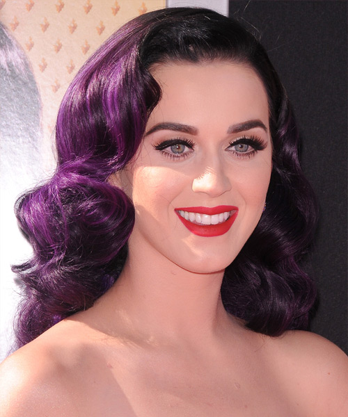 Katy Perry Long Wavy Formal   Hairstyle   - Purple - Side View