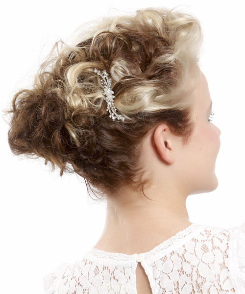 Medium Curly   Light Blonde and  Brunette Two-Tone  Updo    - Side View