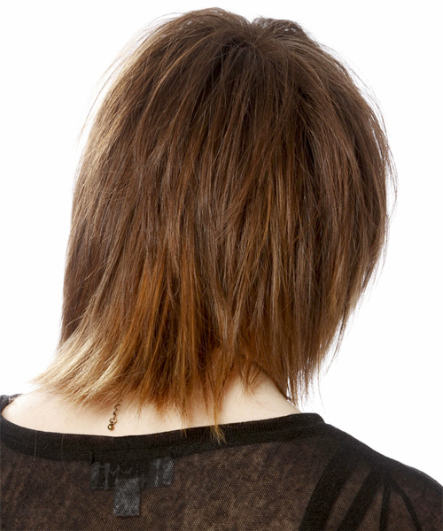 Medium Straight Casual  Emo  Hairstyle with Side Swept Bangs  - Light Auburn Brunette Hair Color with Light Blonde Highlights - Side View
