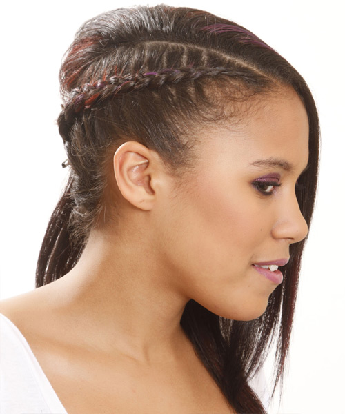 Long Straight   Black  Braided Half Up Hairstyle   with Purple Highlights - Side View