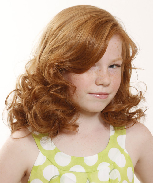 Medium Wavy   Light Copper Red   Hairstyle with Side Swept Bangs  - Side View