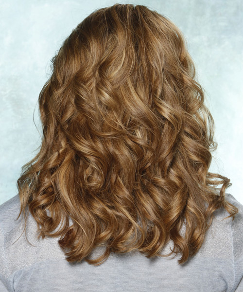 Long Wavy Formal   Hairstyle with Side Swept Bangs  - Light Brunette (Chestnut) - Side View