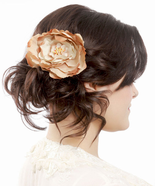 Long Straight   Mocha  Updo  with Side Swept Bangs  - Side View