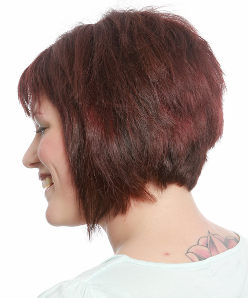 Short Straight Casual Bob  Hairstyle with Razor Cut Bangs  (Burgundy) - Side View