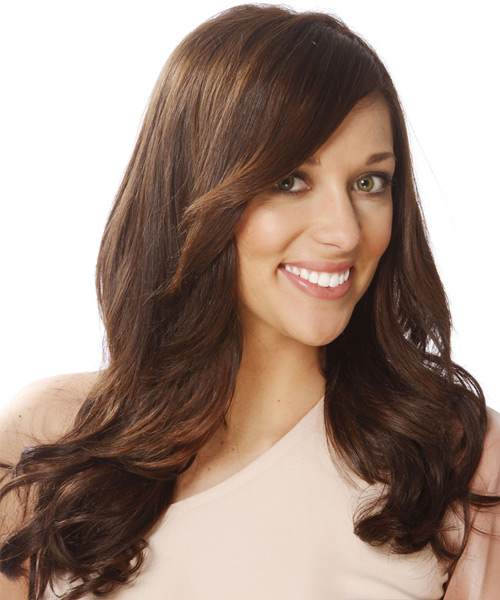 Long Straight Formal   Hairstyle with Side Swept Bangs  - Dark Brunette (Chocolate) - Side View