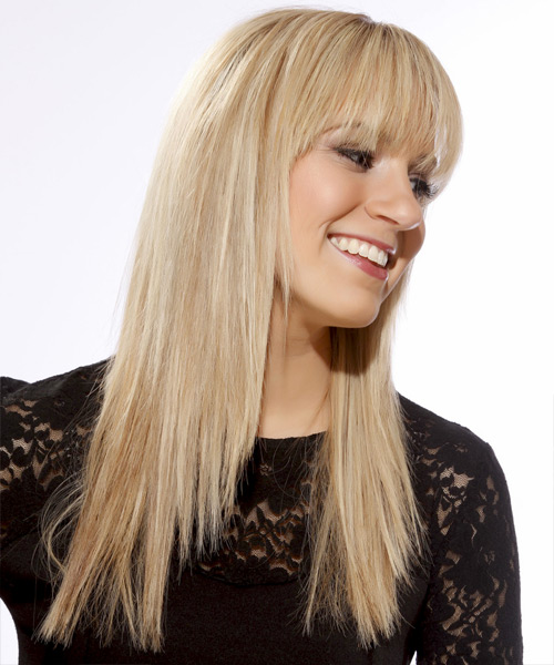 Long Straight Casual   Hairstyle with Blunt Cut Bangs  - Light Blonde (Golden) - Side View
