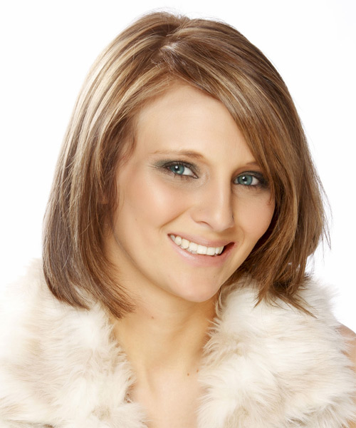 Medium Straight Formal  Bob  Hairstyle with Side Swept Bangs  - Light Auburn Red Hair Color with Light Blonde Highlights - Side View