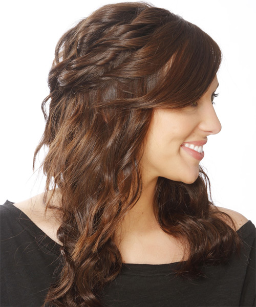 Long Curly   Dark Brunette  Half Up Hairstyle with Side Swept Bangs  and  Brunette Highlights - Side View