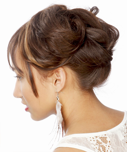 Long Straight    Chocolate Brunette  Updo  with Blunt Cut Bangs  and Dark Brunette Highlights - Side View