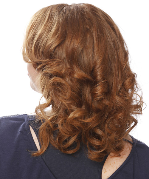 Medium Wavy Formal    Hairstyle   - Light Copper Red Hair Color - Side View